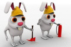 3d rabbits with helmet fire extinguisher and axe concept Royalty Free Stock Photo