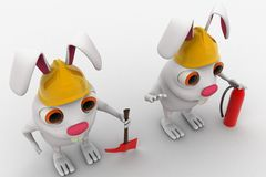 3d rabbits with helmet fire extinguisher and axe concept Stock Photo