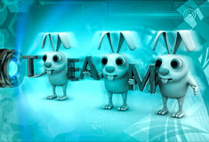 3d rabbits holding TEAM text in hands illustration Royalty Free Stock Photos