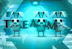 3d rabbits holding TEAM text in hands illustration Stock Photography