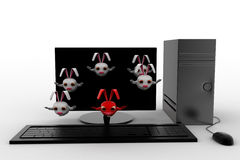 3d rabbits jumping from desktop screen concept Royalty Free Stock Photography