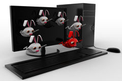 3d rabbits jumping from desktop screen concept Stock Photography