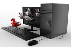 3d rabbits jumping from desktop screen concept Stock Images