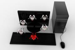 3d rabbits jumping from desktop screen concept Stock Photos