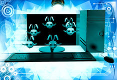 3d rabbits jumping from desktop screen illustration Stock Photo