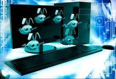 3d rabbits jumping from desktop screen illustration Royalty Free Stock Photo