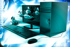 3d rabbits jumping from desktop screen illustration Royalty Free Stock Image