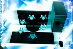 3d rabbits jumping from desktop screen illustration Stock Image