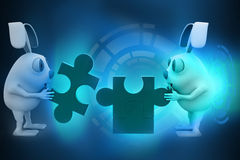3d rabbits with puzzle hologram Royalty Free Stock Photo