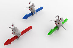 3d rabbits ride arrows concept Royalty Free Stock Photography