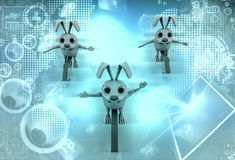 3d rabbits ride arrows illustration Royalty Free Stock Photo