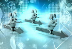 3d rabbits ride arrows illustration Royalty Free Stock Images
