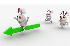 3d rabbits run after another rabbit riding arrow concept Royalty Free Stock Photography