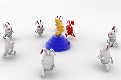 3d rabbits running towards euro currency sign concept Stock Photos