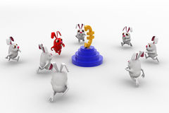 3d rabbits running towards euro currency sign concept Stock Photography