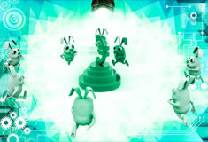 3d rabbits running towards euro currency sign illustration Stock Photos
