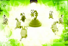 3d rabbits running towards euro currency sign illustration Royalty Free Stock Images