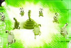 3d rabbits running towards euro currency sign illustration Stock Images