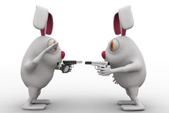 3d rabbits showing guns to each other concept Royalty Free Stock Photo