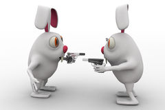3d rabbits showing guns to each other concept Stock Photography