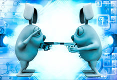 3d rabbits showing guns to each other illustration Royalty Free Stock Photos