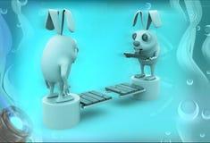 3d rabbits standing on opposite end of bridge illustration Stock Image