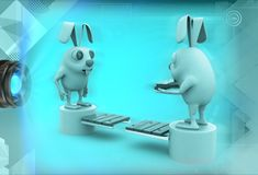 3d rabbits standing on opposite end of bridge illustration Royalty Free Stock Photography