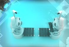 3d rabbits standing on opposite end of bridge illustration Royalty Free Stock Images