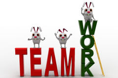 3d rabbits standing on team work concept Royalty Free Stock Image