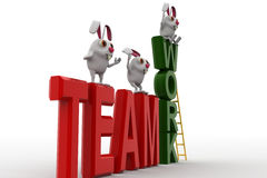 3d rabbits standing on team work concept Stock Photo