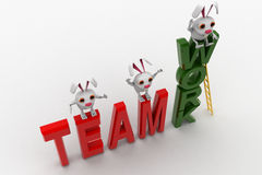 3d rabbits standing on team work concept Stock Images