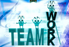 3d rabbits standing on team work illustration Royalty Free Stock Photography