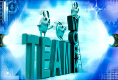 3d rabbits standing on team work illustration Royalty Free Stock Image