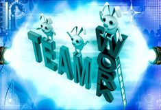 3d rabbits standing on team work illustration Royalty Free Stock Photo