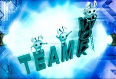 3d rabbits standing on team work illustration Stock Images