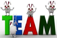 3d rabbits with team rk text and ladder concept Royalty Free Stock Images