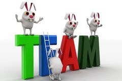 3d rabbits with team rk text and ladder concept Stock Images