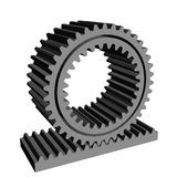 3D rack pinion spur gear wheel cogwheel Stock Photos