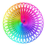 3d Radial array of rainbow paperclips Stock Photo