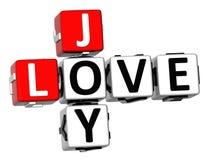 3D radości miłości Crossword Zdjęcia Stock