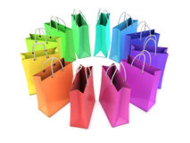 3d Rainbow shopping bags. 3d render of shopping bags in multicolors Stock Photos
