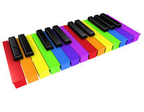 3d Rainbow spectrum piano keys Stock Photos