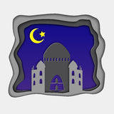 3d Ramadan greeting card with crescent in deep blue night sky and mosque. Arabic ornament. Ramadan Kareem festival. Design. Vector illustration Royalty Free Stock Photo