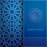 3d Ramadan Kareem greeting card,blue colore invitation islamic style.Arabic circle pattern.Islamic brochure. 3d Ramadan Kareem greeting card,invitation islamic Royalty Free Stock Photo