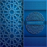 3d Ramadan Kareem greeting card,blue colore invitation islamic style.Arabic circle pattern.Islamic brochure. 3d Ramadan Kareem greeting card,invitation islamic Stock Photo