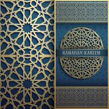 3d Ramadan Kareem greeting card,invitation islamic style.Arabic circle golden pattern.Islamic brochure gold on blue. 3d Ramadan Kareem greeting card,invitation Royalty Free Stock Image