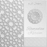 Ramadan Kareem greeting card,invitation islamic style.Arabic circle golden pattern.Gold ornament on black, brochure. 3d Ramadan Kareem greeting card,invitation Royalty Free Stock Photo