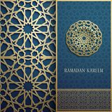3d Ramadan Kareem greeting card,invitation islamic style.Arabic circle golden pattern.Islamic brochure gold on blue. 3d Ramadan Kareem greeting card,invitation Royalty Free Stock Photos