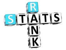 3D Rank Stats Crossword. On white background Royalty Free Stock Photography