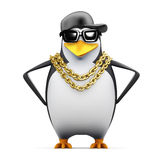 3d Rapper penguin hands on hips Royalty Free Stock Photo